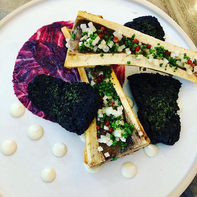 New to the menu. Charred bone marrow, fermented celeriac & pink peppercorns, pine vinegar pickled radicchio, celeriac cremá, crisp charcoal bread. @bosqaspen. • • • • • #cheflife #chefslife #foodporn #chefsofinstagram #aspen #travel #forage #foraging #bosq #wildfood  #wildcrafting #bosqaspen #colorado #aspeneats #coloradoeats #saveur #foodandwine #worlds50best #jamesbeard #theartofplating #culinary #biodynamicfarming