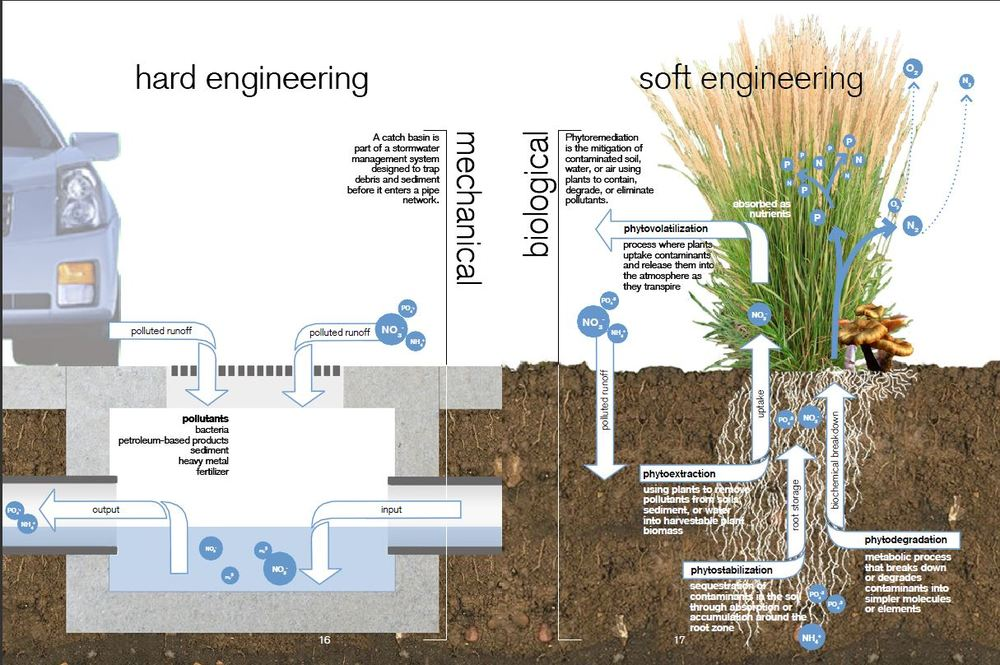 Water pollution in grey versus green infrastructure. Source: Low Impact Development Manual, University of Arkansas.