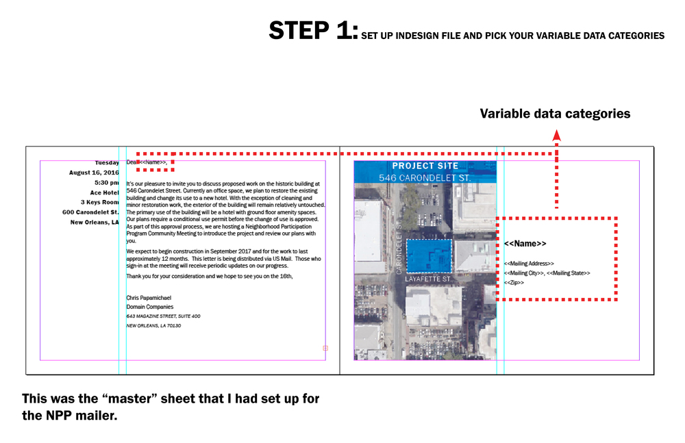 "This tutorial highlights the workflow between Excel and inDesign. This is similar to Word's ancient MailMerge feature in that you can have variable data on the same ""master"" sheet, but using inDesign allows you to maintain the graphic consistency you desire.  I was tasked to prepare a letter invitation for a Neighborhood Participation Program (NPP) meeting. Given that there were 600+ names and address to send to, I didn't want to manually copy and paste the data into the inDesign file. Thus, DATA MERGE!"