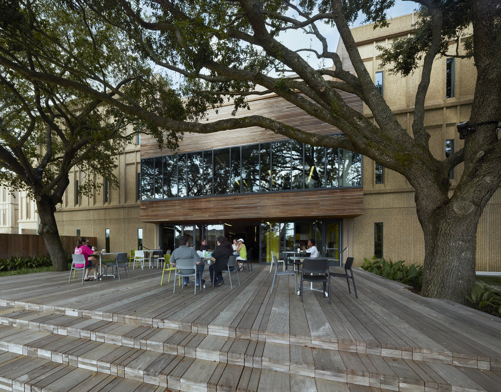 Outdoor dining terrace at Lamar Advertising