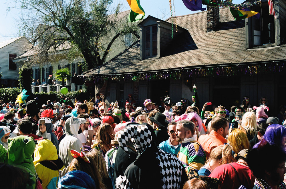 Lafitte's Blacksmith Shop Bar on Mardi Gras Day