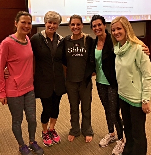 Brooke Marais (left) with STOTT PILATES colleagues and Sue Hitzmann (center, creator of The MELT Method)