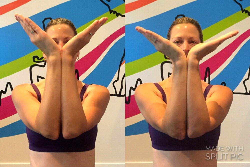 Pictures of Brooke's hand and wrist flexibility, 'before' and 'after' performing a simple three-minute MELT Method  ® Hand Treatment
