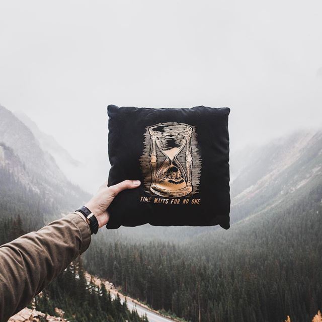 Time waits for no one! This is your life leaving you by the minute, it's time to wake up and bring your dreams to life. Head into the darkness and illuminate the unknown.  Pillow now available online.  www.daybreakerco.com #illuminatetheunknown