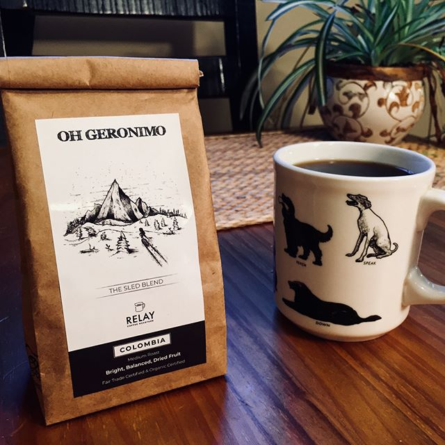 Oh Geronimo x Relay Coffee. Proud to announce that we've teamed up with @relaycoffee to bring you our own signature roast - 'The Sled Blend'. Just like our record, this Fair Trade and Organic Certified Coffee is Bright & Balanced with subtle notes of Dried Fruit. 1/2 lb bags will be available for purchase at our next few shows and on our website. Link in bio. 🛷+☕️=⚡️
