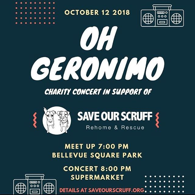 Toronto. 🐶🎸 This Friday at @supermkttoronto we will be performing in support of our favourite charity - @saveourscruff // we'll be playing 2 sets, with lots of classics and big hits to keep the poochies groovin'. All proceeds go to the charity.