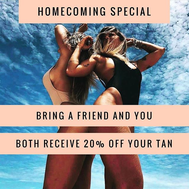 Here we go! Homecoming 2018! Bring a friend and you will both receive 20% off your tan! This will book up fast! Don't wait!  #spraytan #airbrushtan #sunlesstanning #ontheglow #gainesvilleva #haymarketva #bestingainesville #bestinhaymarket #battlefieldhighschool #patriothighschool #homecoming
