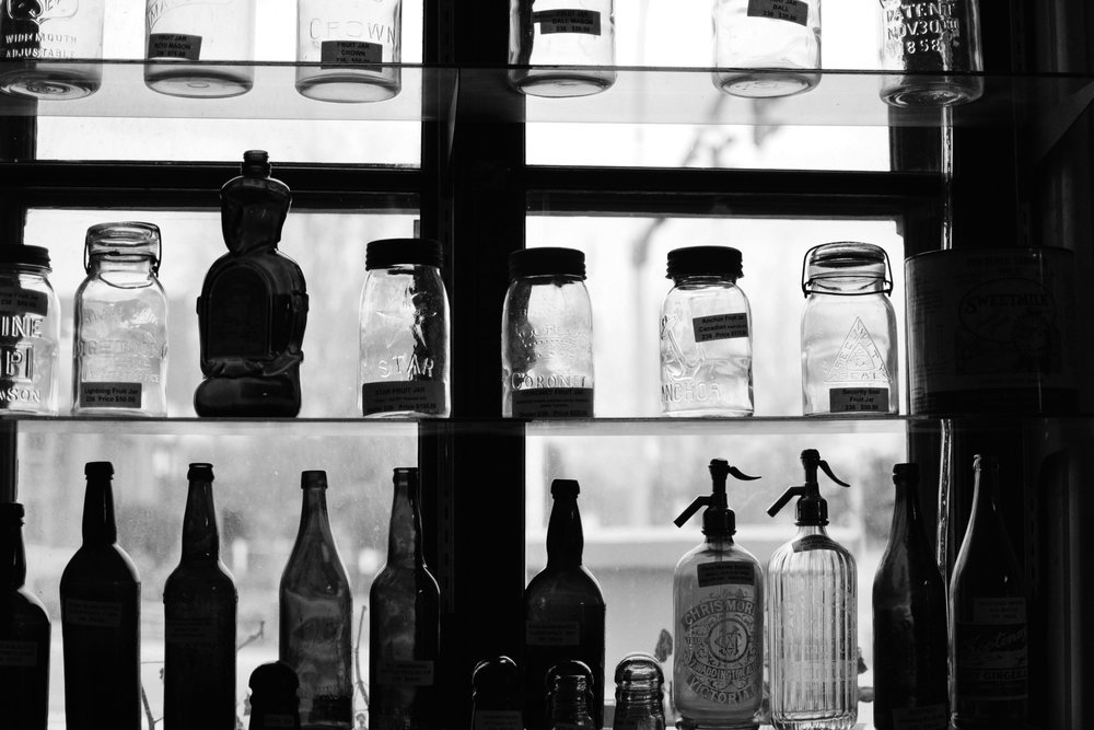 glass mason jars and bottles.jpg