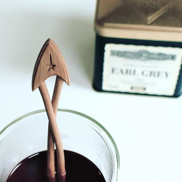 Earl Grey tea. Hot. . I tried to resist taking such an obvious photo, but resistance is futile. . #startrek #resistanceisfutile #captainpicard #earlgrey #midcentury #midcenturymodern #tea #spooncarving #apartmenttherapy #handmade #woodworking #teatime #wooddecor #kitchendecor