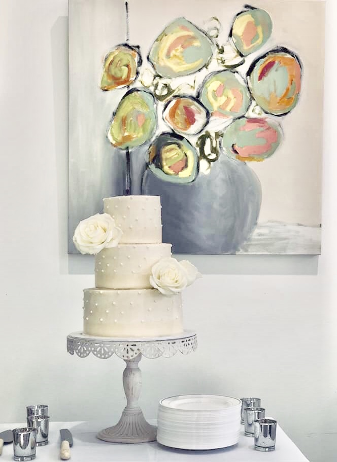 Wedding cake by culinary artist Alethea Kendrick Cowie; painting by artist Isabelle Gautier.