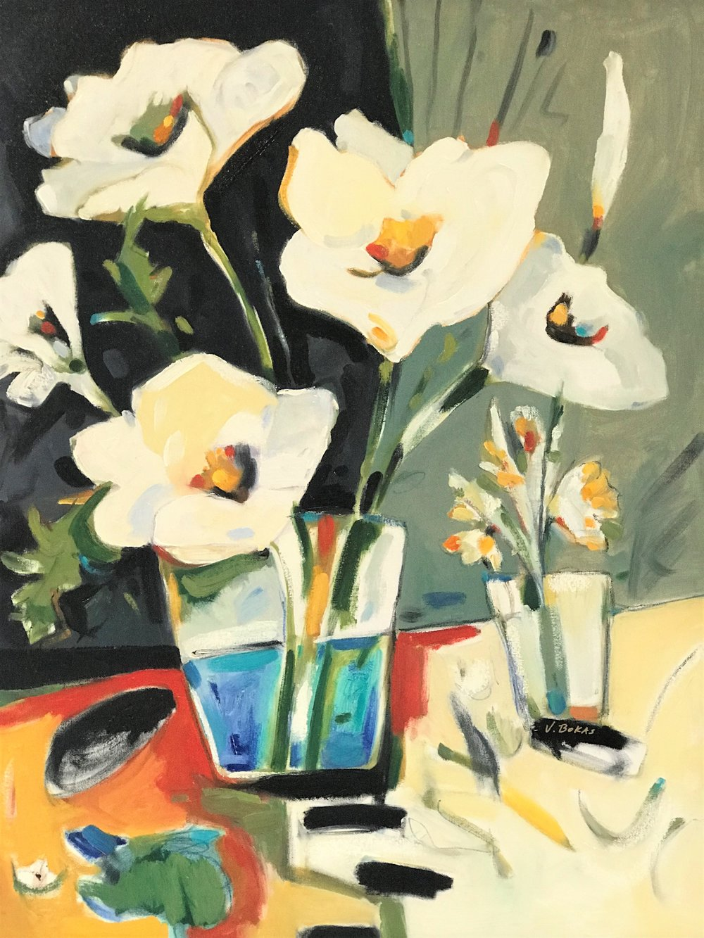 Clams, Shells & White Flowers by artist Victor Bokas available at Canary Gallery