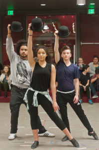 "Performing students Javier Luna, Shelby Willis and Tom Bentson rehearse ""Steam Heat"""