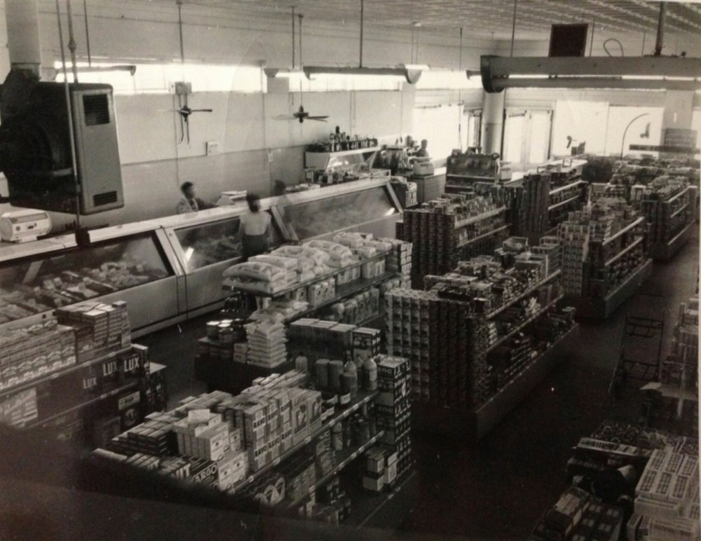 Interior of Roland's Market in 1950