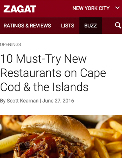 10 MUST-TRY NEW RESTAURANTS ON CAPE COD & THE ISLANDS ZAGAT | JUNE 27th, 201666
