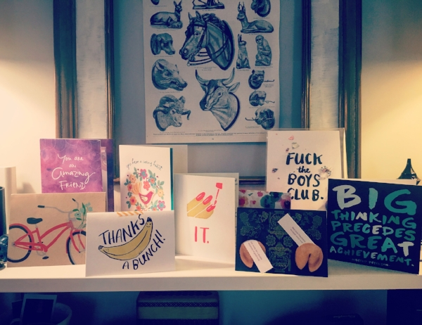 Some of the well-wisher cards I brought with me (there were more!). I am grateful for so much love and support in my life! (Also check out  We Design Studios , once again, for cards up there of the explitive and banana variety.)