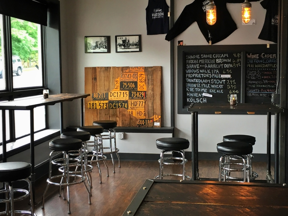 Interior is a mix of modern, industrial, and rustic which fits the charm of downtown Hudson