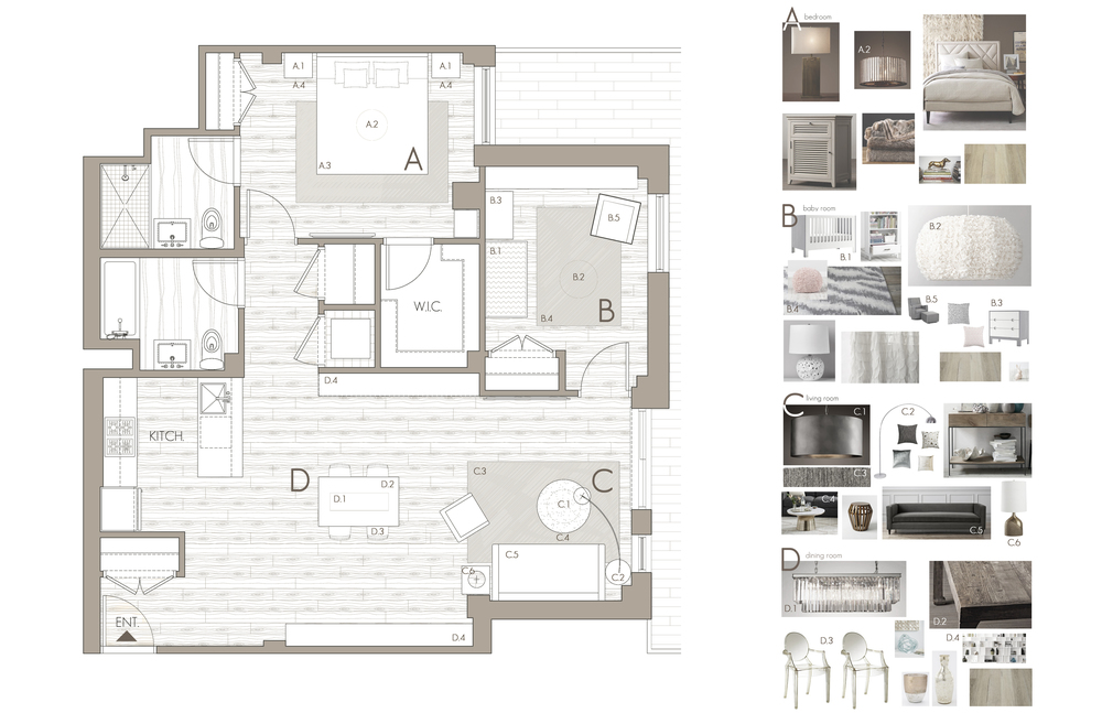FURNITURE LAYOUT FLOOR PLAN WITH COORDINATED PRODUCT + ACCESSORY SELECTIONS PHOTOGRAPH ABOVE PLAN DEPICTS MASTER BEDROOM 'A'