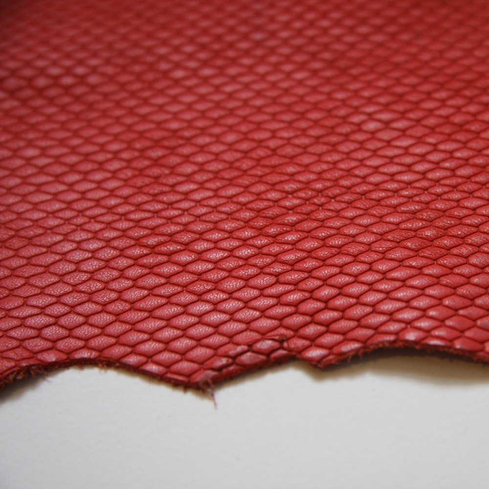 Scarlet Embossed Snake Hide