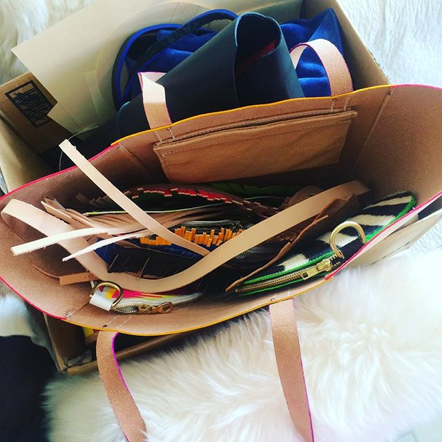 Great big bag of everything, with my whole collection inside. Getting ready for today's photo shoot!!!#renegadecraftfair #photoshoot