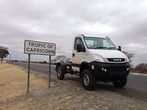 The single cab passing the Tropic of Capricorn on its way north towards Maun, Botswana.