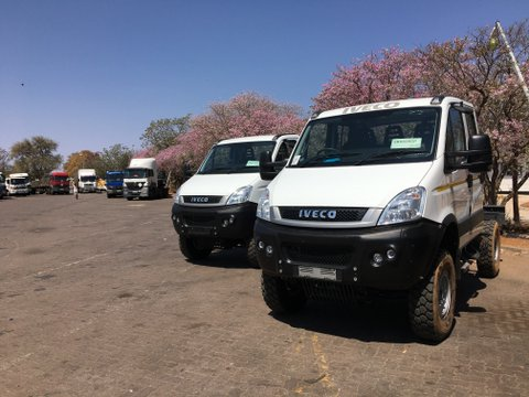 Iveco Daily 4x4's at the Tlokweng border post between South Africa and Botswana.