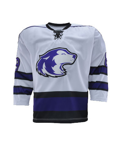 White Blue and Black hockey uniforms jerseys