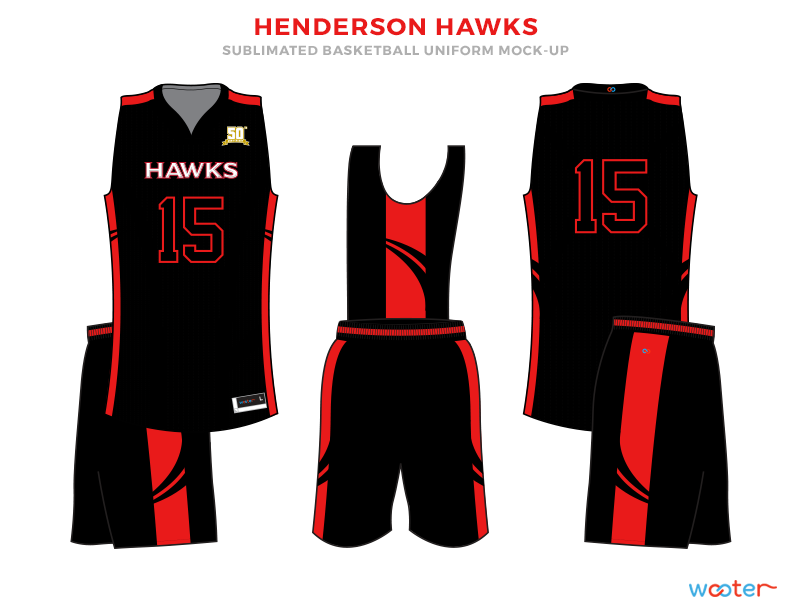 Red and Black basketball uniforms, HENDERSON HAWKS jersey and shorts