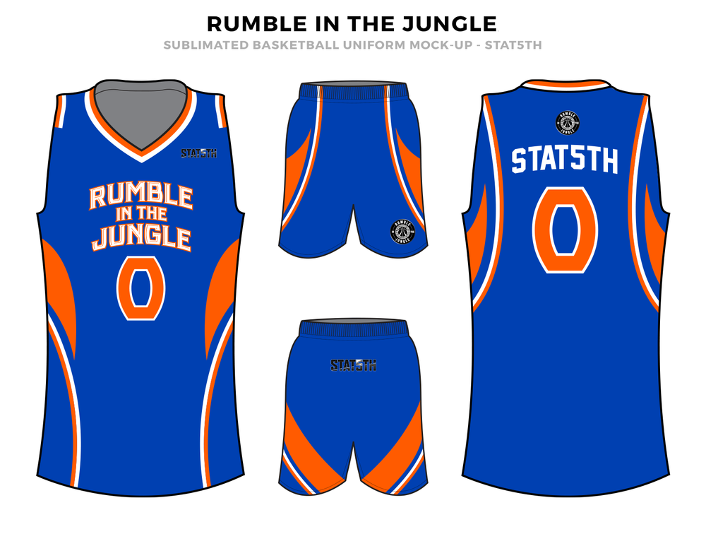 RUMBLE IN THE JUNGLE Blue Orange Black and White Baskteball Uniforms, Jersey and Shorts