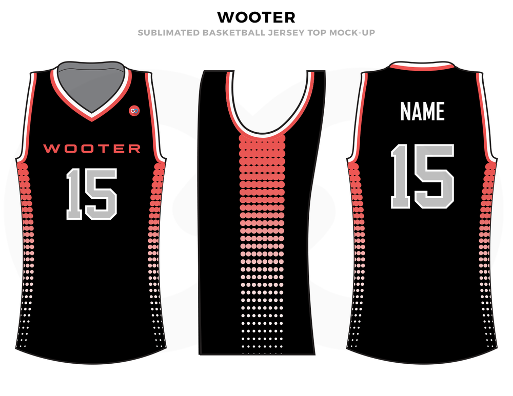 WOOTER Black Pink and White Basketball Uniforms, Jerseys