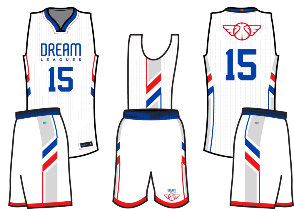 Red, blue and white basketball uniforms, Dream Leagues reversible full sublimation jersey and shorts