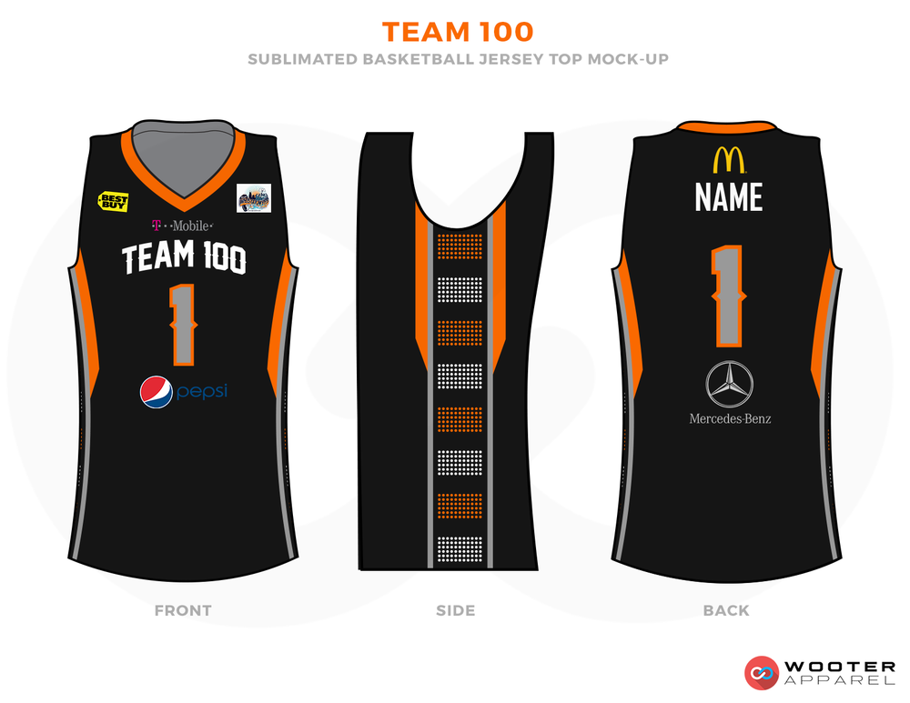 6b88eb71552 TEAM 100 Black Orange Grey Yellow Blue Red and White Basketball Uniforms