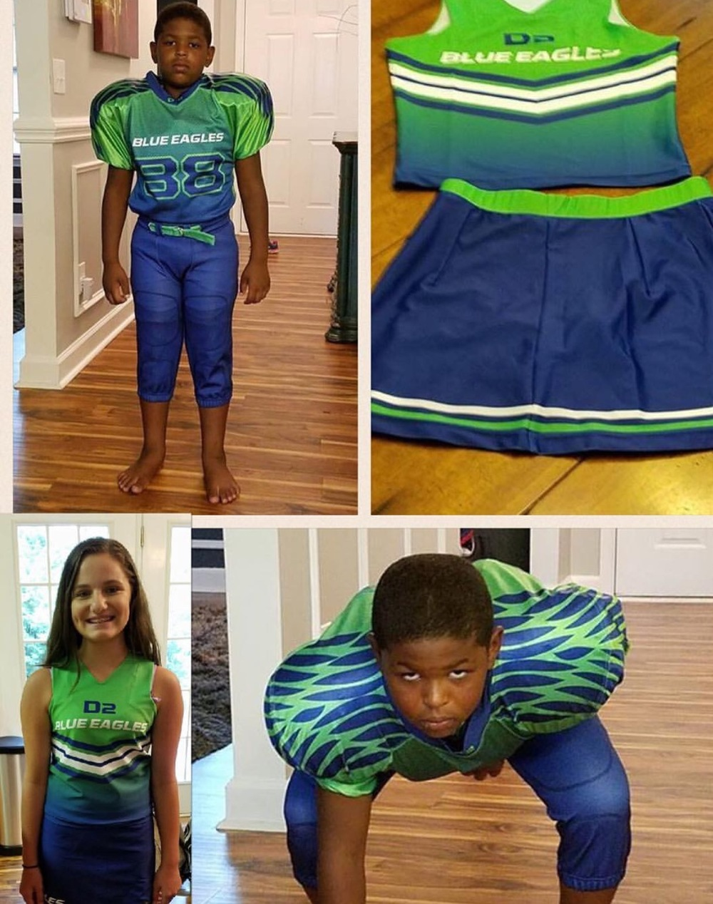 Blue white and Green Football/Cheerleading Uniforms, Jersey Short,Pants and Skirts