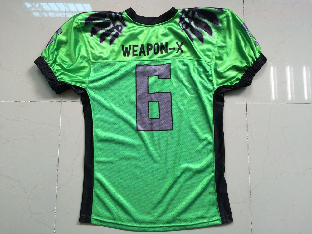 WEAPON-X Green Black and Gray Football Uniforms, Jerseys