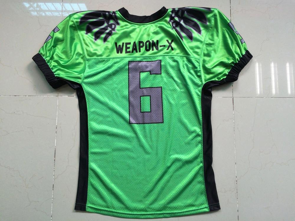 WEAPON-X Green Black and Grey Football Uniforms, Jerseys