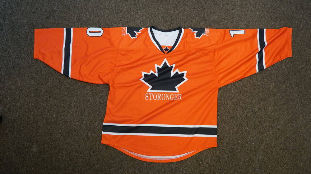 Grey Orange Blue and White hockey uniforms jerseys