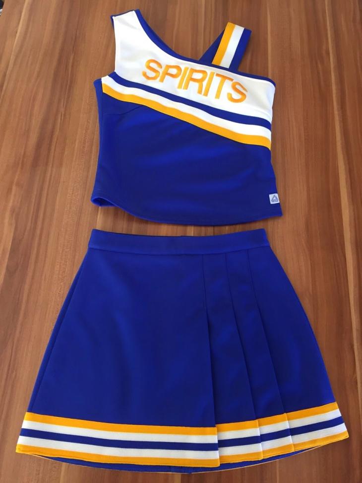 SPIRITS blue white yellow CHEERLEADING jersey, skirt, top, bottom