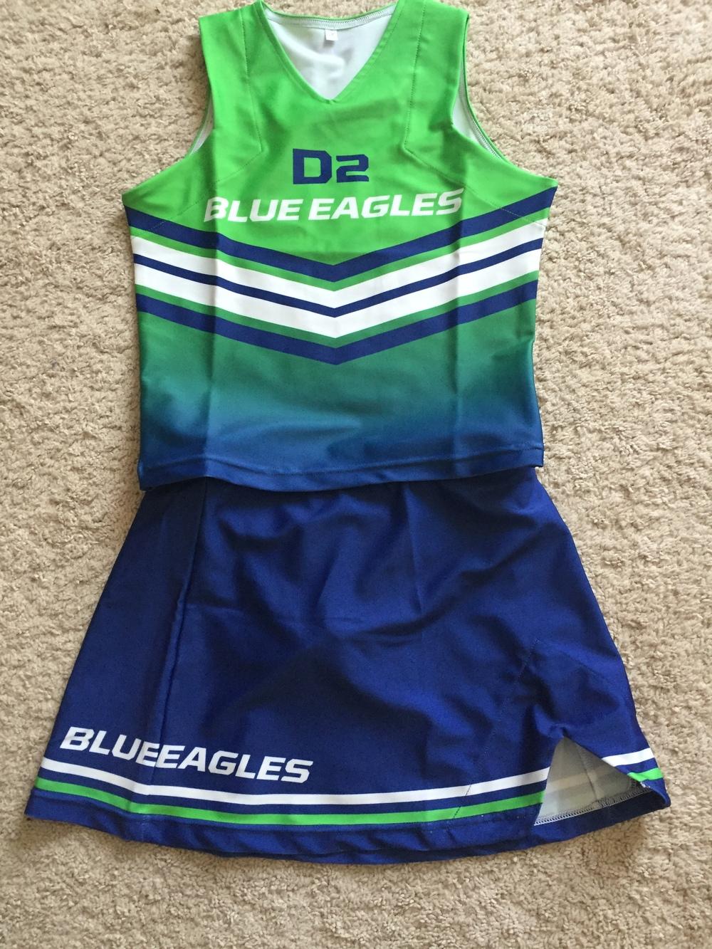 D2 BLUE EAGLES green blue white CHEERLEADING jersey, skirt, top, bottom