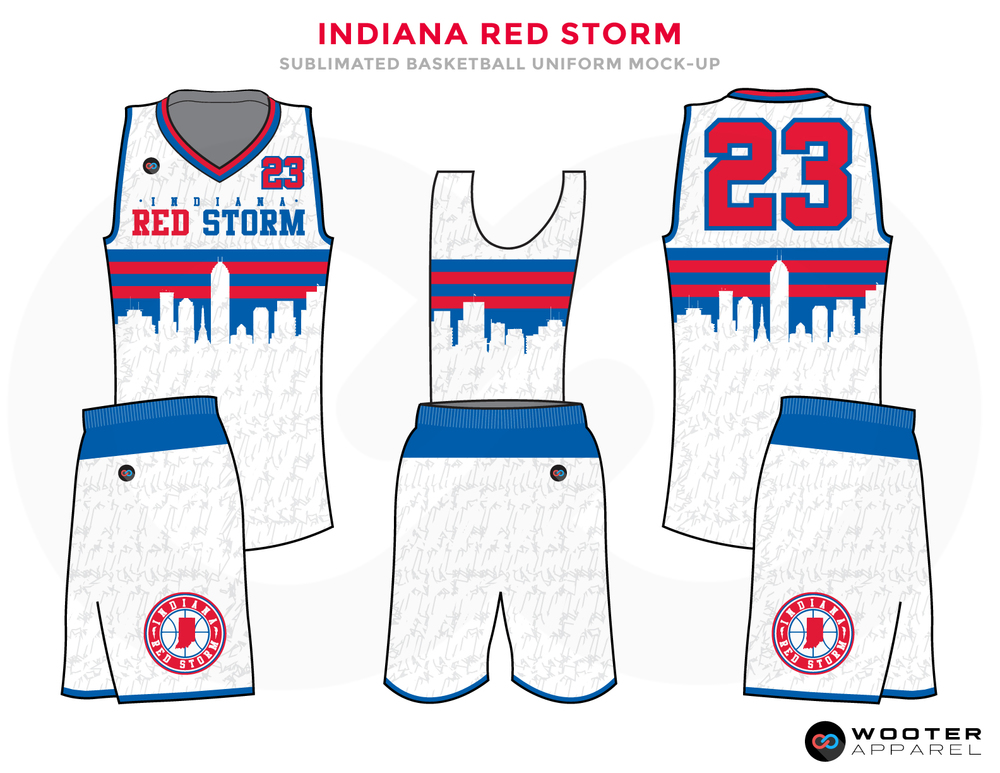 INDIANA RED STORM White Blue and Red Basketball Uniforms, Jersey and Shorts