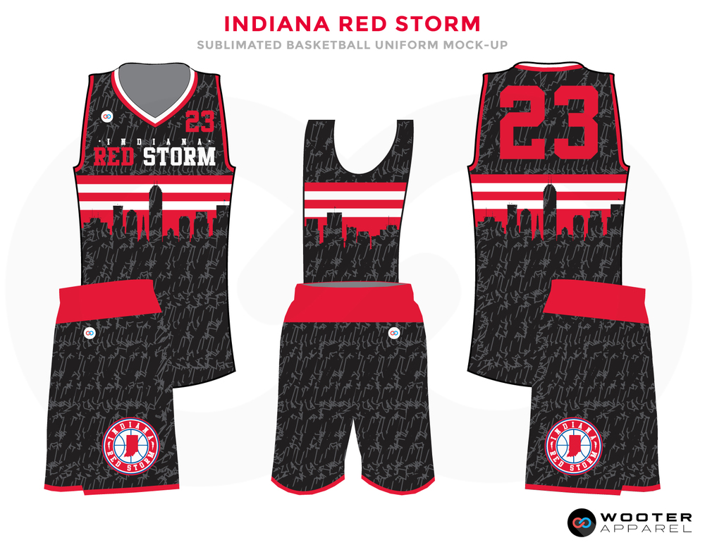 INDIANA RED STORM Black Grey White Pink and Shocking Pink Basketball Uniforms, Jersey and Shorts