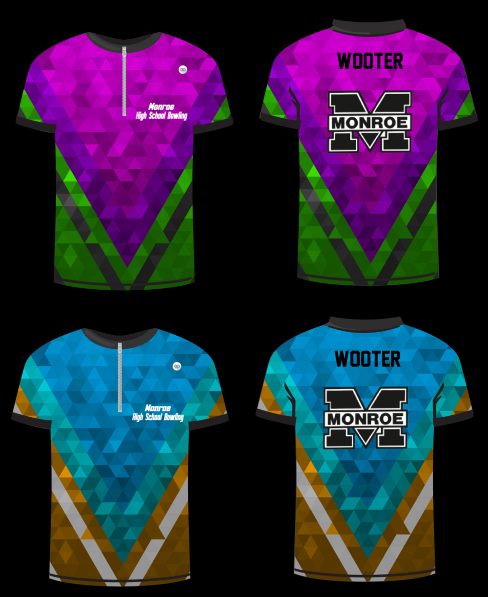 WOOTER Grey Green Pink Purple Sky Brown White and Black bowling uniforms, shirts, quarter zip polo