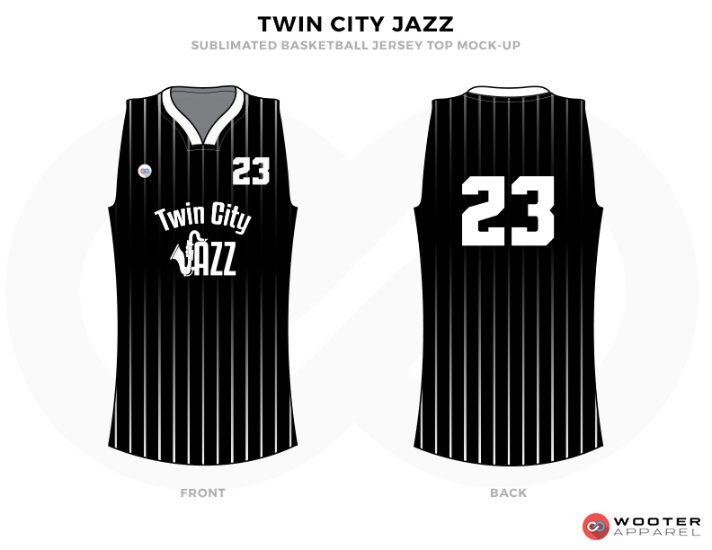 Black basketball uniforms, TWIN CITY JAZZ jersey