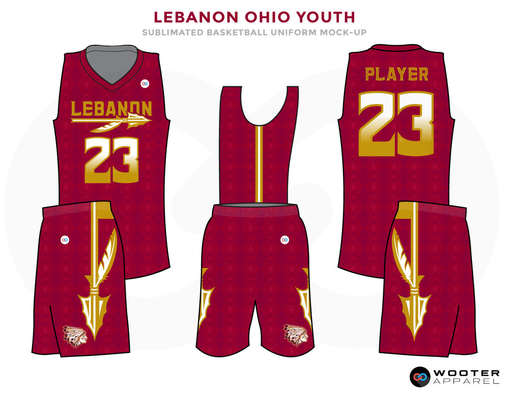 Red basketball uniforms, LEBANON OHIO YOUTH jersey and shorts