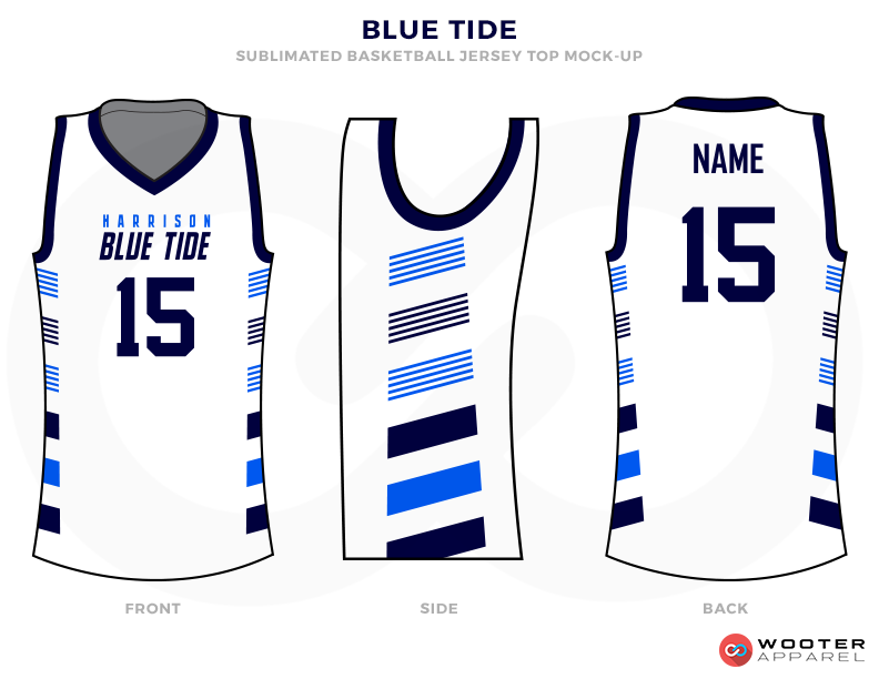 White basketball uniforms, BLUE TIDY jersey