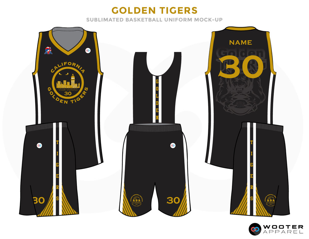 GOLDEN TIGERS Black Grey Golden and White Baseball Uniforms, Jersey and Shorts