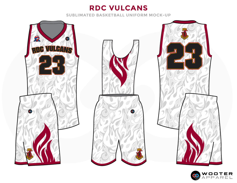 White designer basketball uniforms, RDC VULCANS jersey and shorts
