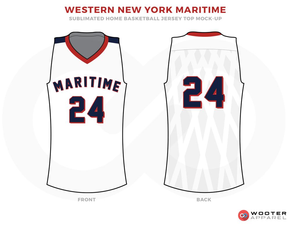 White basketball uniforms, WESTERN NEW YORK MARITIME jersey