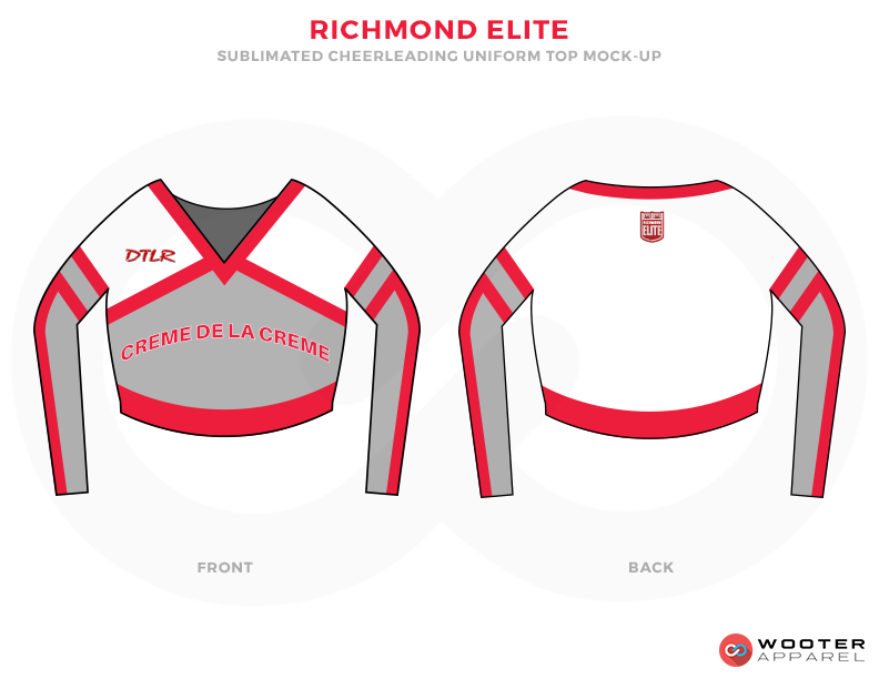 RICHMOND ELITE Grey White and Red Baseball Uniforms, Uppers