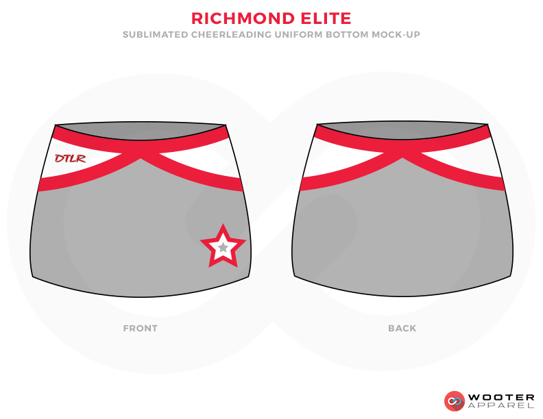 RICHMOND ELITE Grey White and Red Baseball Uniforms, Skirts