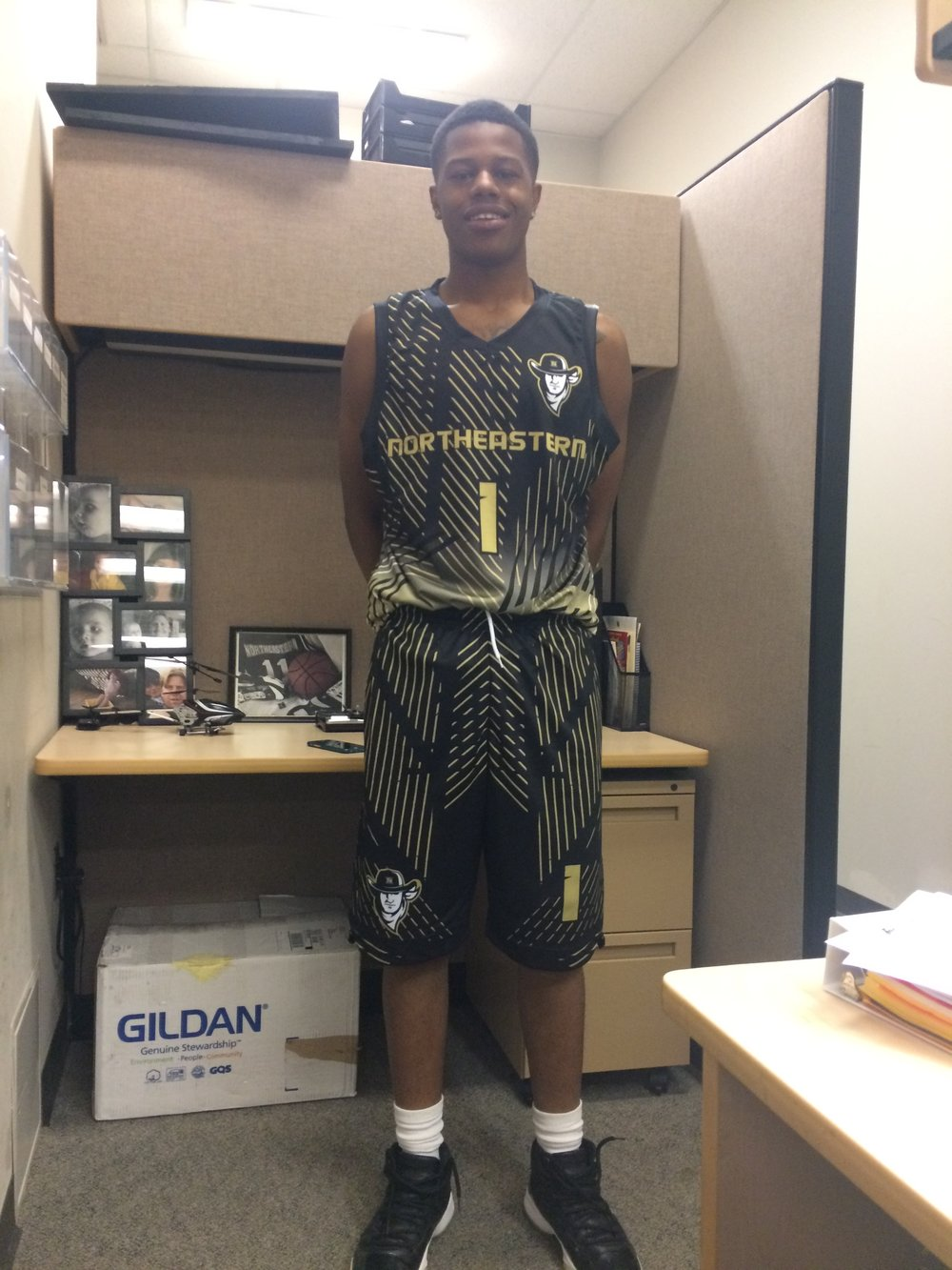 Vegas Gold Black and White Basketball Uniforms, Jersey and Shorts