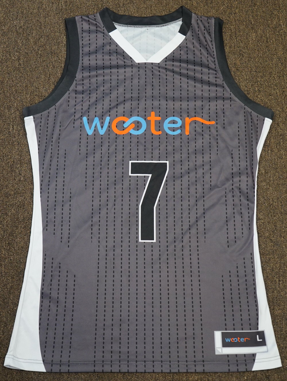 WOOTER Black Grey Sky Blue Orange and White Vegas Gold Black Basketball Uniforms, Jerseys